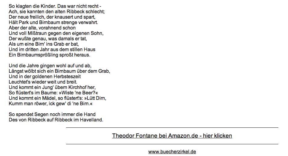 Theodor fontane gedichte herr von ribbeck
